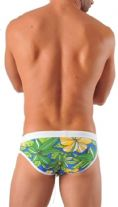 Geronimo Mens Floral Multicoloured Green Swimwear Brief Trunks 1321s2 flowered